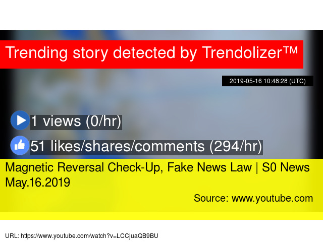 Magnetic Reversal Check-Up, Fake News Law   S0 News May 16 2019
